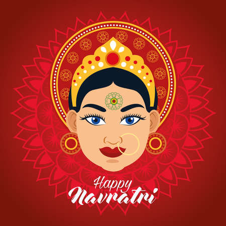 happy navratri celebration card with beautiful goddess in red background vector illustration design