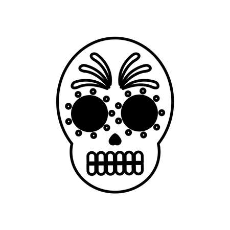 traditional mexican skull head line style icon vector illustration design Illustration