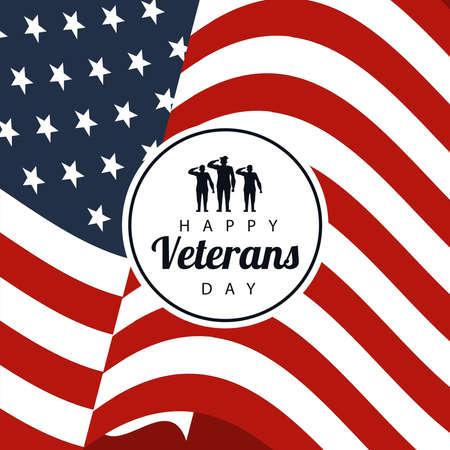 happy veterans day lettering in poster with soldiers in circular frame usa flag background vector illustration design Ilustração Vetorial