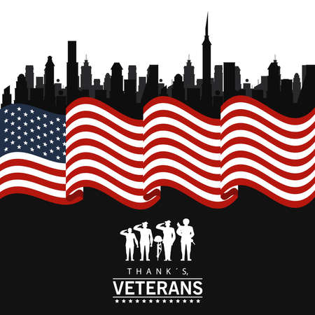 happy veterans day lettering in poster with soldiers silhouettes in usa flag vector illustration design