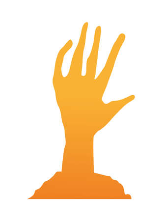 orange death zombie hand isolated icon vector illustration design