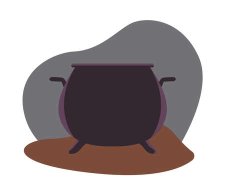 halloween witch cauldron pot icon vector illustration design