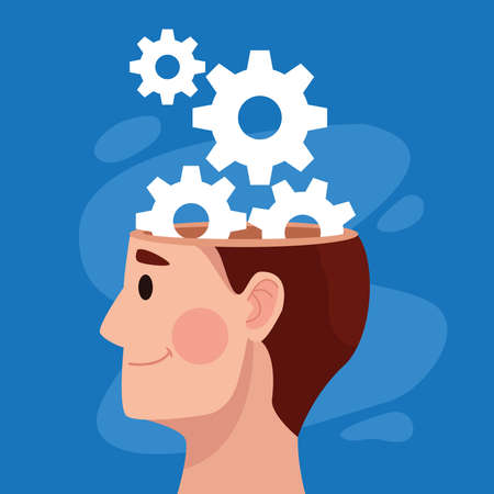 mental health day man profile and gears machinery vector illustration design