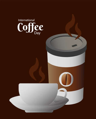 international coffee day poster with cup and plastic container vector illustration design
