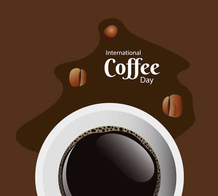 international coffee day poster with coffee cup and lettering air view vector illustration design