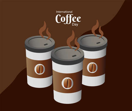 international coffee day poster with three plastic containers vector illustration design