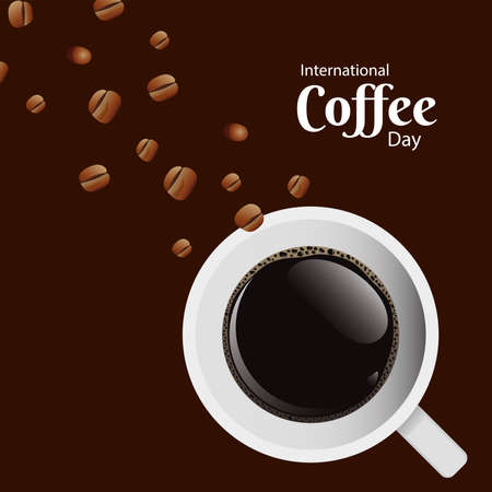 international coffee day poster with coffee cup and seeds air view scene vector illustration design