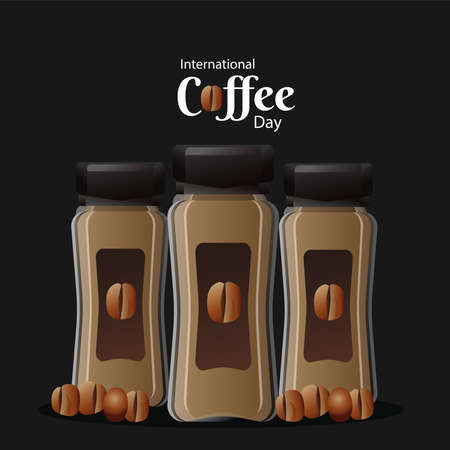 international coffee day poster with pots product and beans vector illustration design