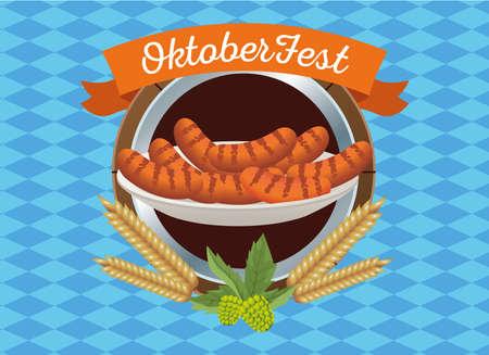happy oktoberfest celebration with sausages in wooden frame vector illustration design