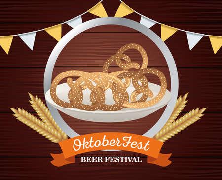 happy oktoberfest celebration with pretzels in wooden frame vector illustration design