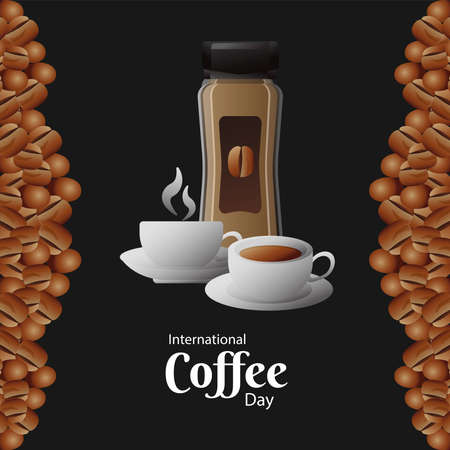 international coffee day poster with pot product and cups vector illustration design