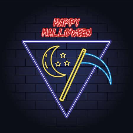 happy halloween neon light of death scythe vector illustration design