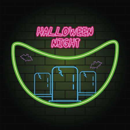 halloween night neon light of cemetery scene vector illustration design