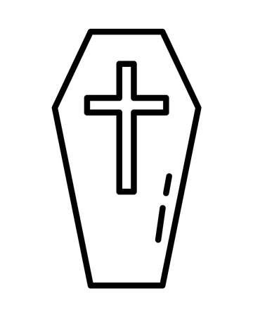 halloween wooden coffin line style icon vector illustration design Illustration