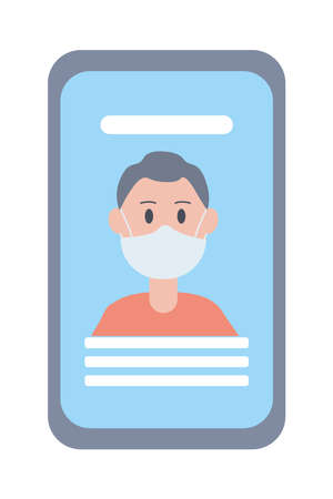 young man wearing face mask in smartphone vector illustration design