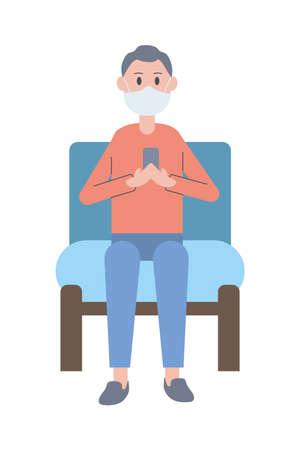 young man wearing face mask using smartphone seated in sofa vector illustration design Ilustração