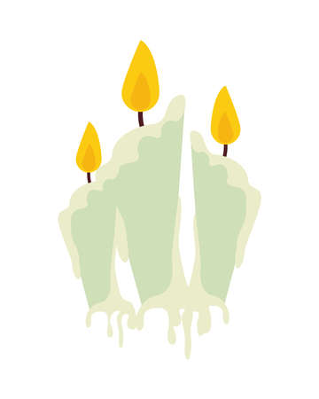 halloween candles flames isolated icons vector illustration design 矢量图像