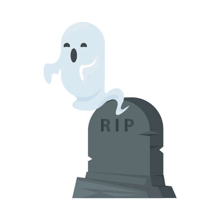 cemetery tomb with rip word and ghost vector illustration design