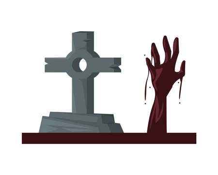 cemetery tomb with cross and death hand vector illustration design