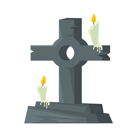 cemetery tomb with cross and candles vector illustration design