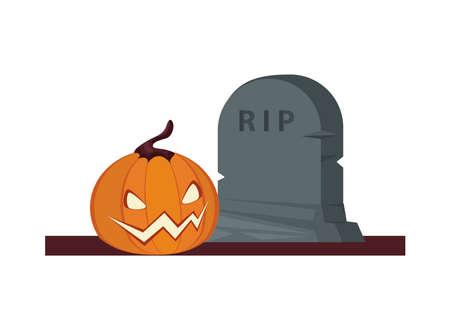 halloween pumpkin with graveyard cemetery vector illustration design