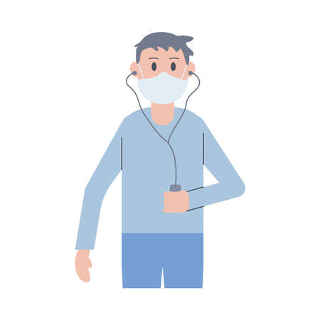 young man wearing face mask listen music vector illustration design