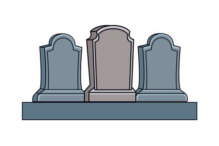 cemetery tombs halloween isolated icons vector illustration design 矢量图像