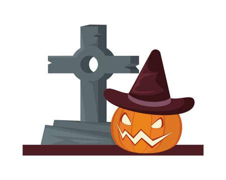 halloween pumpkin wearing witch hat with graveyard cemetery vector illustration design
