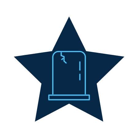 cemetery tomb neon style icon vector illustration design 矢量图像