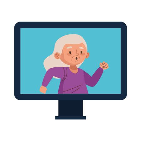 cute old woman running character in desktop vector illustration design