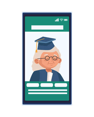 cute old woman with graduation uniform character in smartphone vector illustration design 일러스트