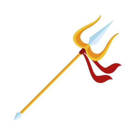 golden trident hindu religion icon vector illustration design