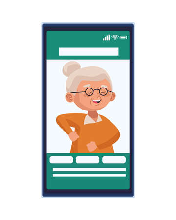 cute old woman dancing character in smartphone vector illustration design 向量圖像