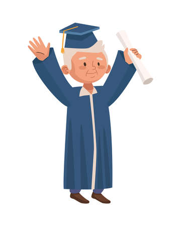 old man eldery with graduation uniform character vector illustration design