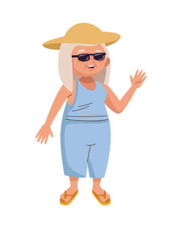 cute old woman with hat and sunglasses character vector illustration design