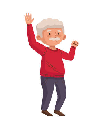 old man eldery dancing character vector illustration design