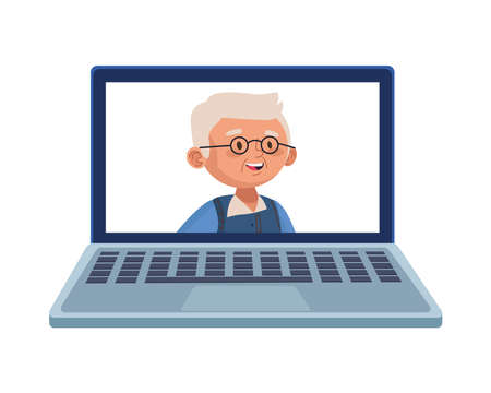 old man eldery avatar character in laptop vector illustration design