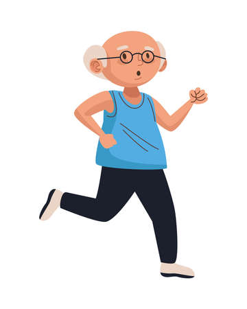 old man eldery running character vector illustration design