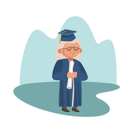 cute old woman with graduation uniform character vector illustration design