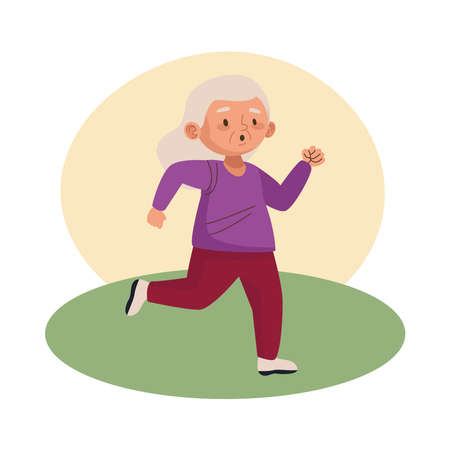 cute old woman running character vector illustration design