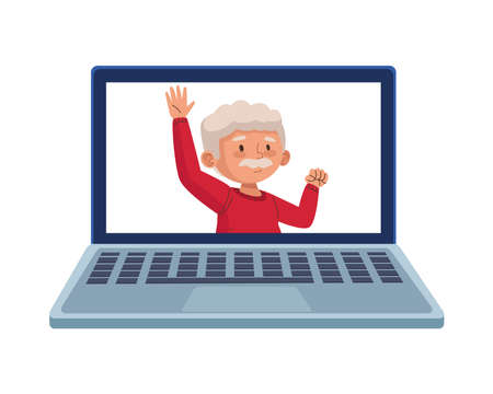 old man eldery dancing character in laptop vector illustration design