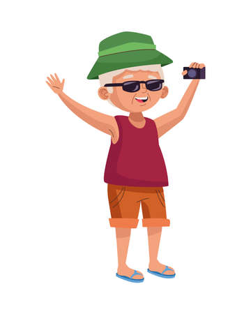 old man eldery tourist with camera photographic vector illustration design