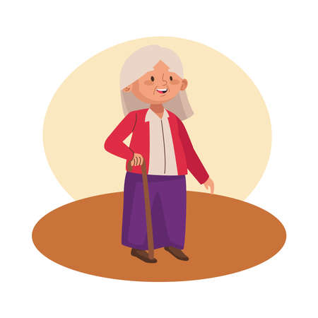 cute old woman walking with cane character vector illustration design 일러스트