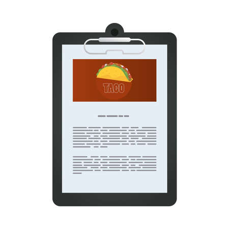 document file mockup in clipboard with taco mexican food vector illustration design