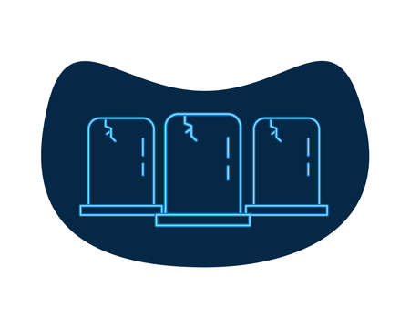 cemetery tombs neon style icons vector illustration design
