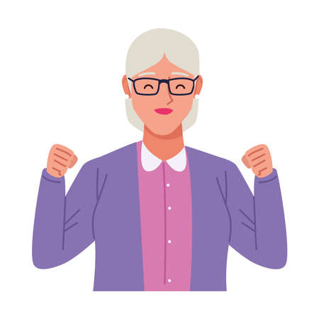 happy old woman celebrating character vector illustration design