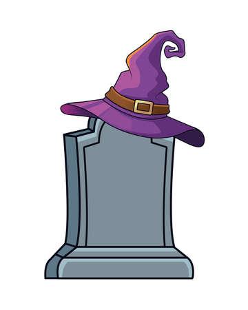 halloween witch hat in graveyard icon vector illustration design
