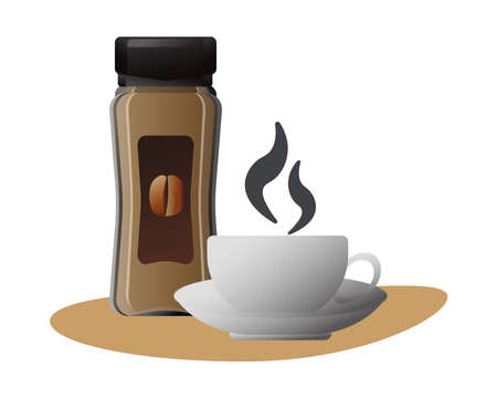 delicious coffee in ceramic cup and product bottle vector illustration design Ilustracja