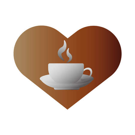 delicious coffee in ceramic cup with love heart vector illustration design
