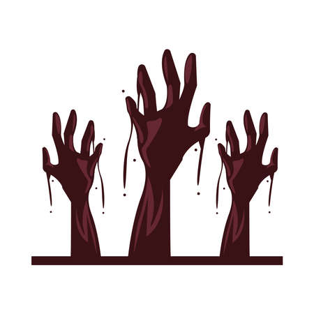zombie death hands isolated icon vector illustration design